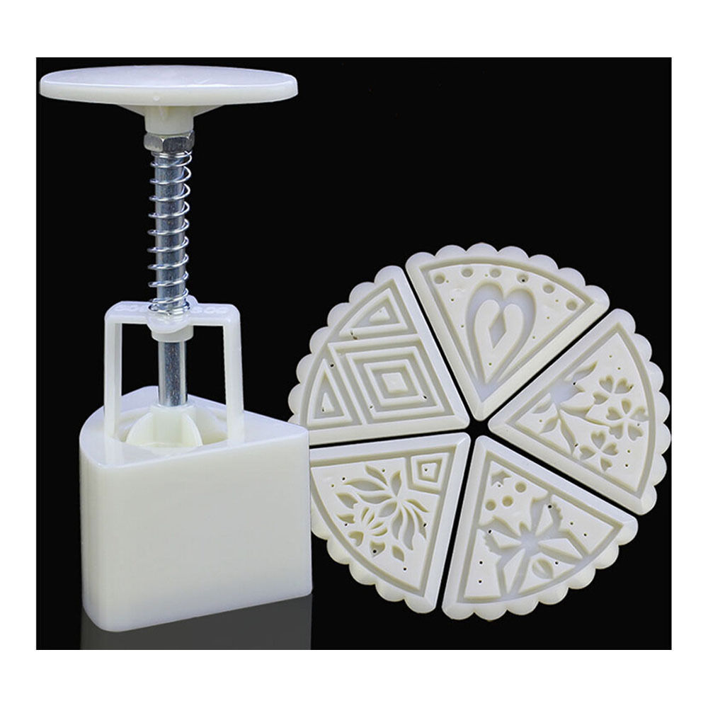 Round Shape Moon Cake Pastry Mold Hand Pressure 50g One Barrel 6 Flower piece ba