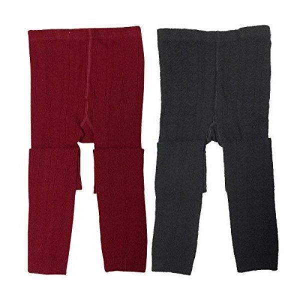 f3782b33c Details about Wrapables Burgundy and Black Cotton Heart Knit Leggings for  Toddlers