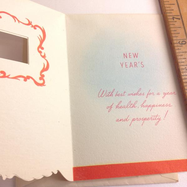 Vintage 1940s 50s american greeting card unused die cut new years we gladly take offers on our listings and are happy to prepare custom shipping estimates for your location be in touch m4hsunfo
