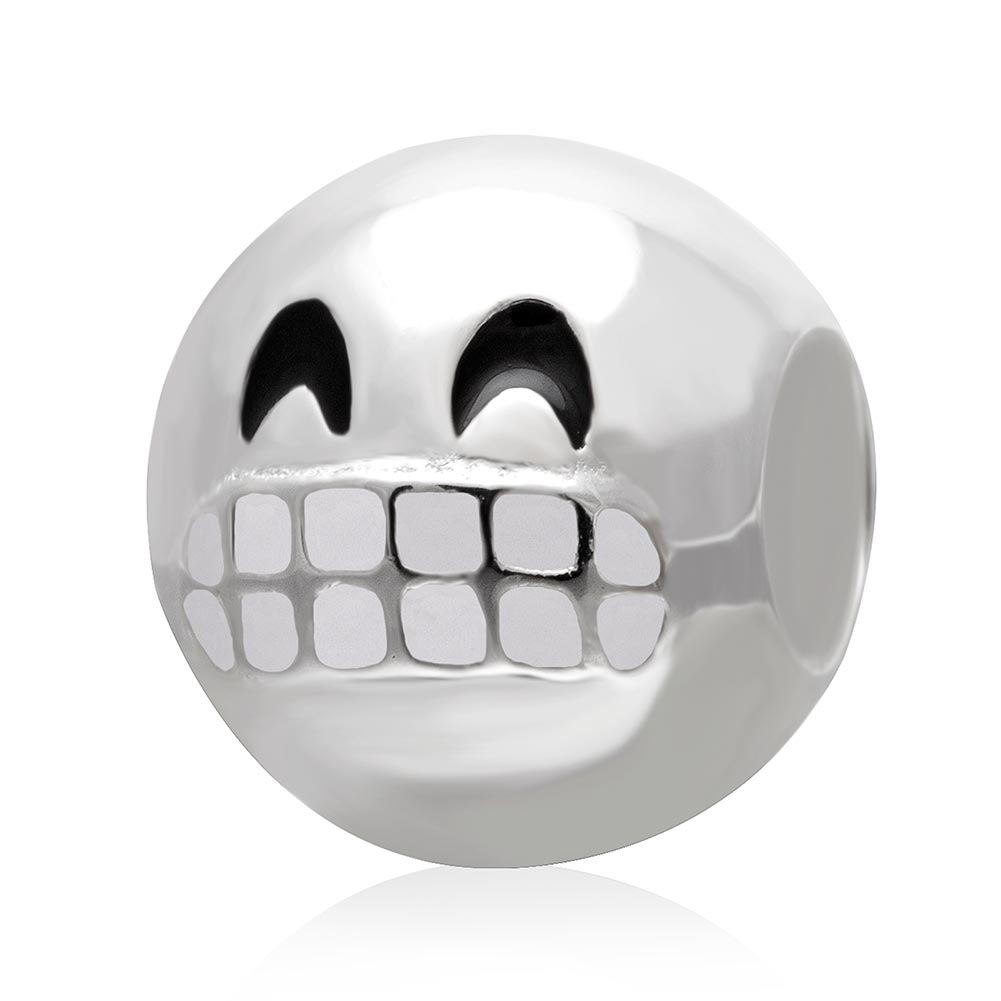 385544e52 Details about Emoji Grin Face in Genuine Sterling Silver & Enamel :) Show  those teeth ;) Smile