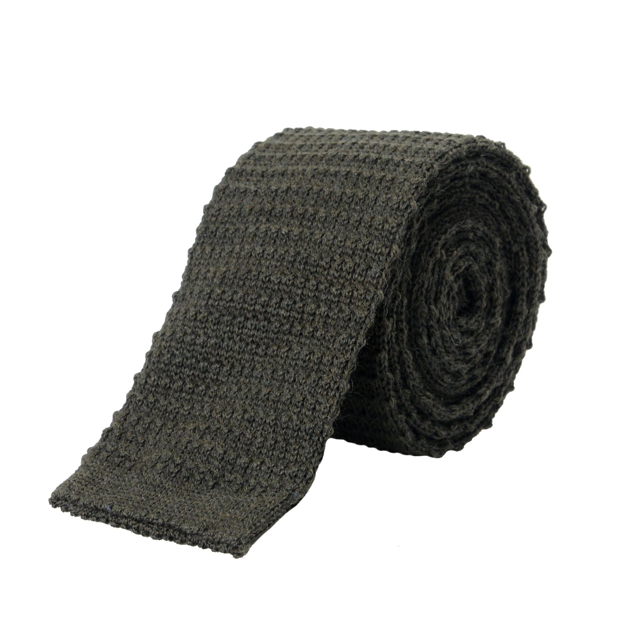 ed814bc4 Details about Hugo Boss Men's Olive Green 100% Wool Knitted Square End Tie