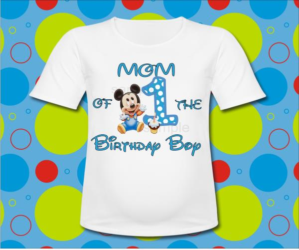 Blue Baby Mickey Mouse Mom Of The Birthday Boy T Shirt 1st