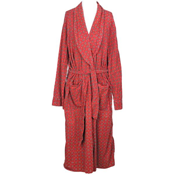 50s Vintage Norwood Cotton Flannel Robe Red PAISLEY Smoking Lounge ...