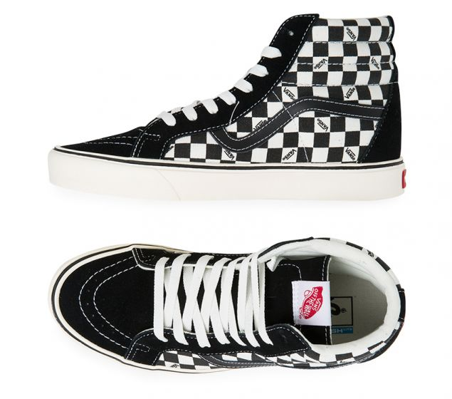 Vans Shoes Sk8 Hi Lite+ Black Checkerboard Reissue Sk8-hi Skateboard Sneakers New FREE POST