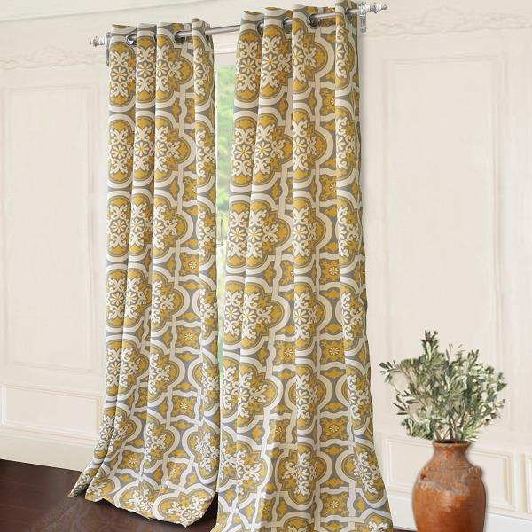 Yellow Gray And White Curtains: Set 2 Yellow Gray Grey White Geometric Curtains Panels