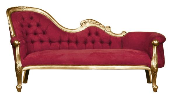 Chaise Longue , French Louis XV Lounge - Gold Leaf with Wine Velvet on