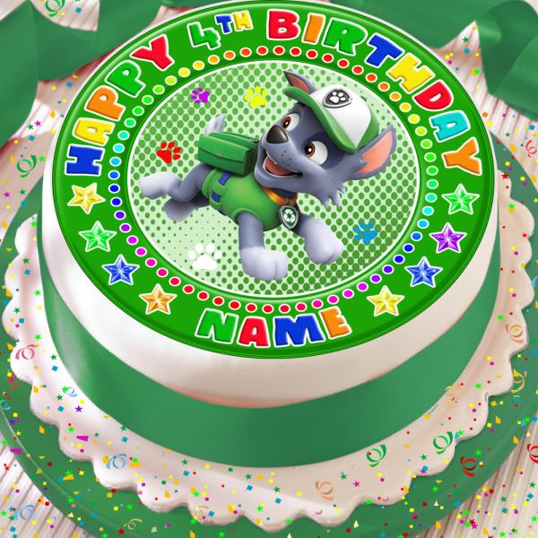 PAW PATROL ROCKY PERSONALISED PRECUT EDIBLE 75 INCH BIRTHDAY CAKE TOPPER PP12