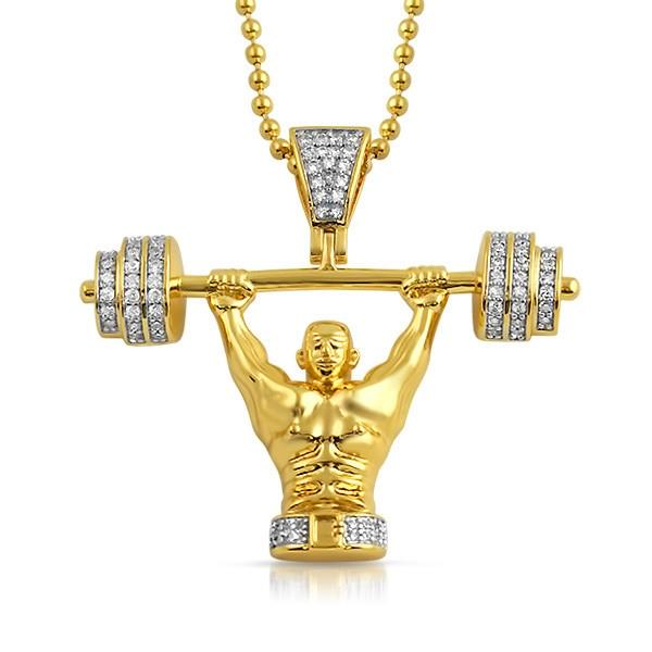 Details About Gold Powerlifter Body Builder Cz Pendant With Chain