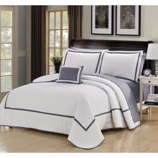Queen King Bed Bag Gray Grey White Solid Hotel Style 8 Pc