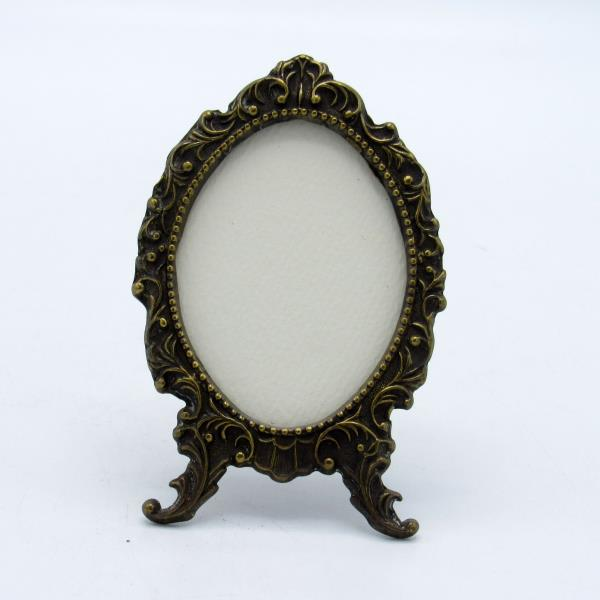Details About Antique Brass Ornate Rim Footed Picture Miniature Photo Frame