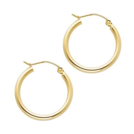 Real 14K Solid Yellow Italian Gold 2 mm Hinged Hoop Plain Polished Earrings 15mm