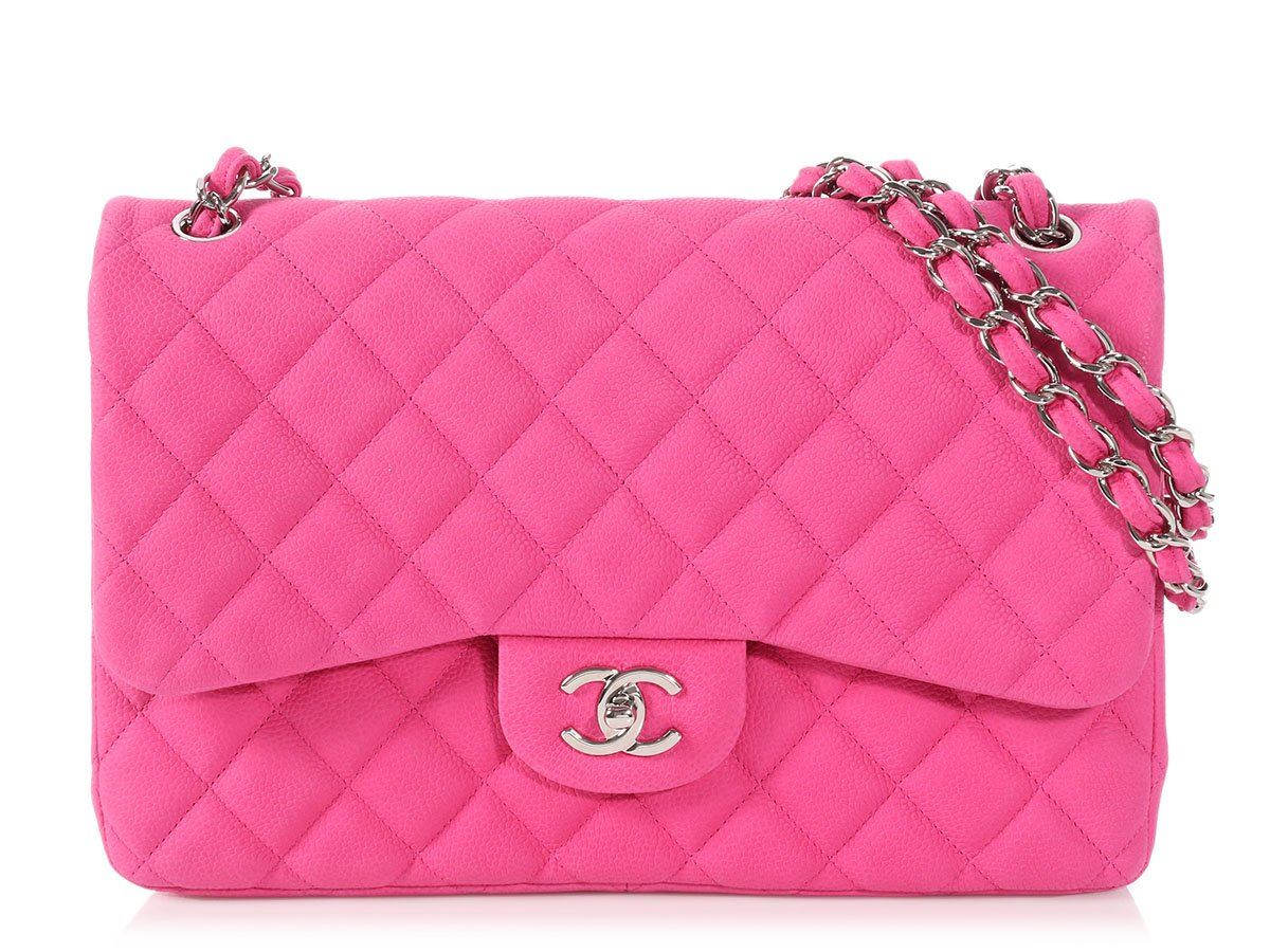421d05619b3d CHANEL Jumbo Pink Quilted Matte Caviar Classic Double Flap Bag Purse EUC