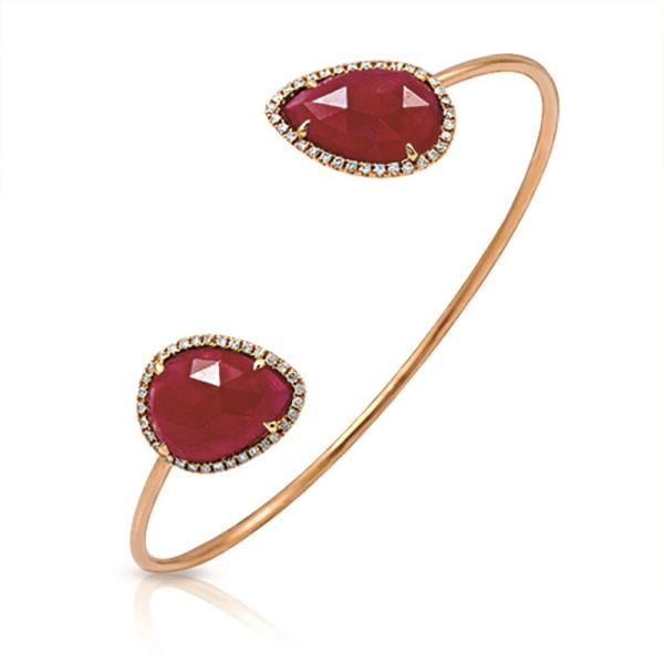 Luxo Jewelry News Letter - Premium Jewelry - Rose Cut Sliced 12.45 CT Ruby 0.35 CT Diamonds 14K Rose Gold Bangle »NP1