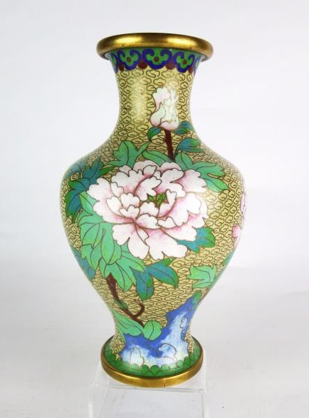 Vintage Chinese Cloisonne Peony Vase Beige Ground With Clouds Ebay