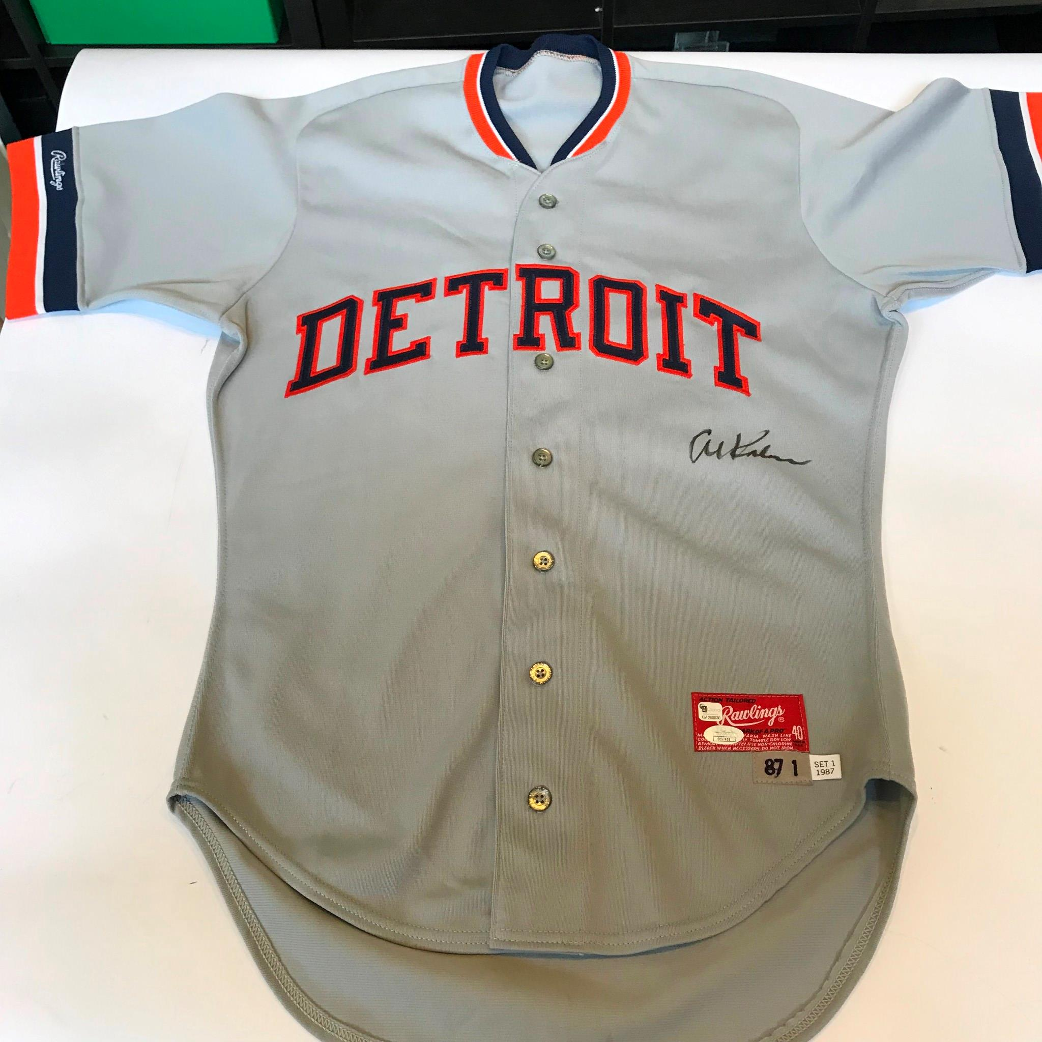 buy online aaa8d 69a52 Details about Rare Al Kaline Signed 1987 Game Issued Detroit Tigers Jersey  With JSA COA