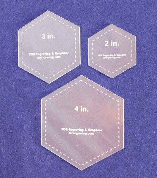 1 with 1//4 Seam Allowance 12 Pieces Hexagon and Square Acrylic Quilting Templates 2 Circle 3 4