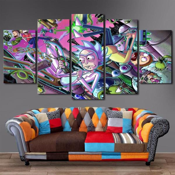 Rick And Morty Poster Painting Wall Art 5 Panel Print Poster Framed