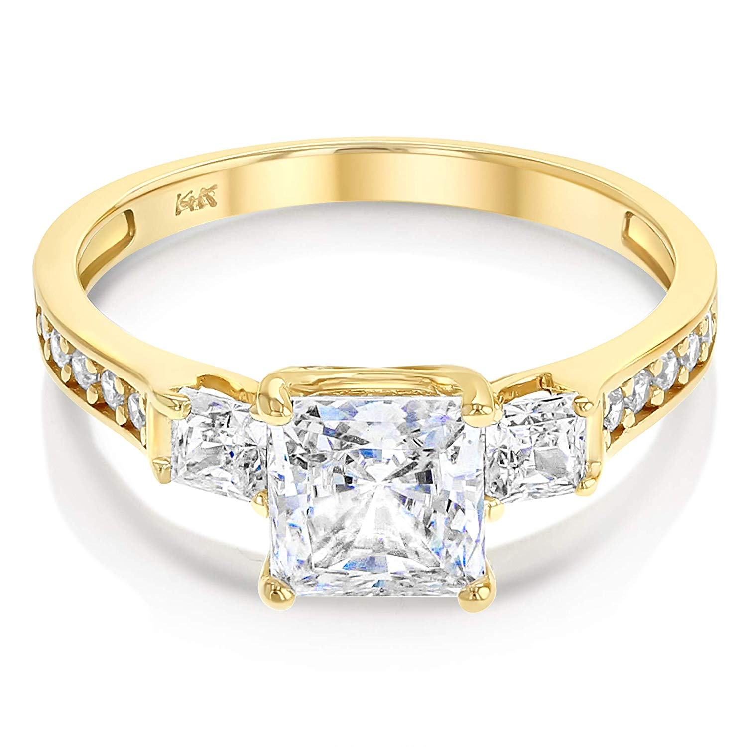 172e72905 Details about Ioka 14K Yellow / White Gold Cubic Zirconia 3 Stone Princess  Cut Engagement Ring