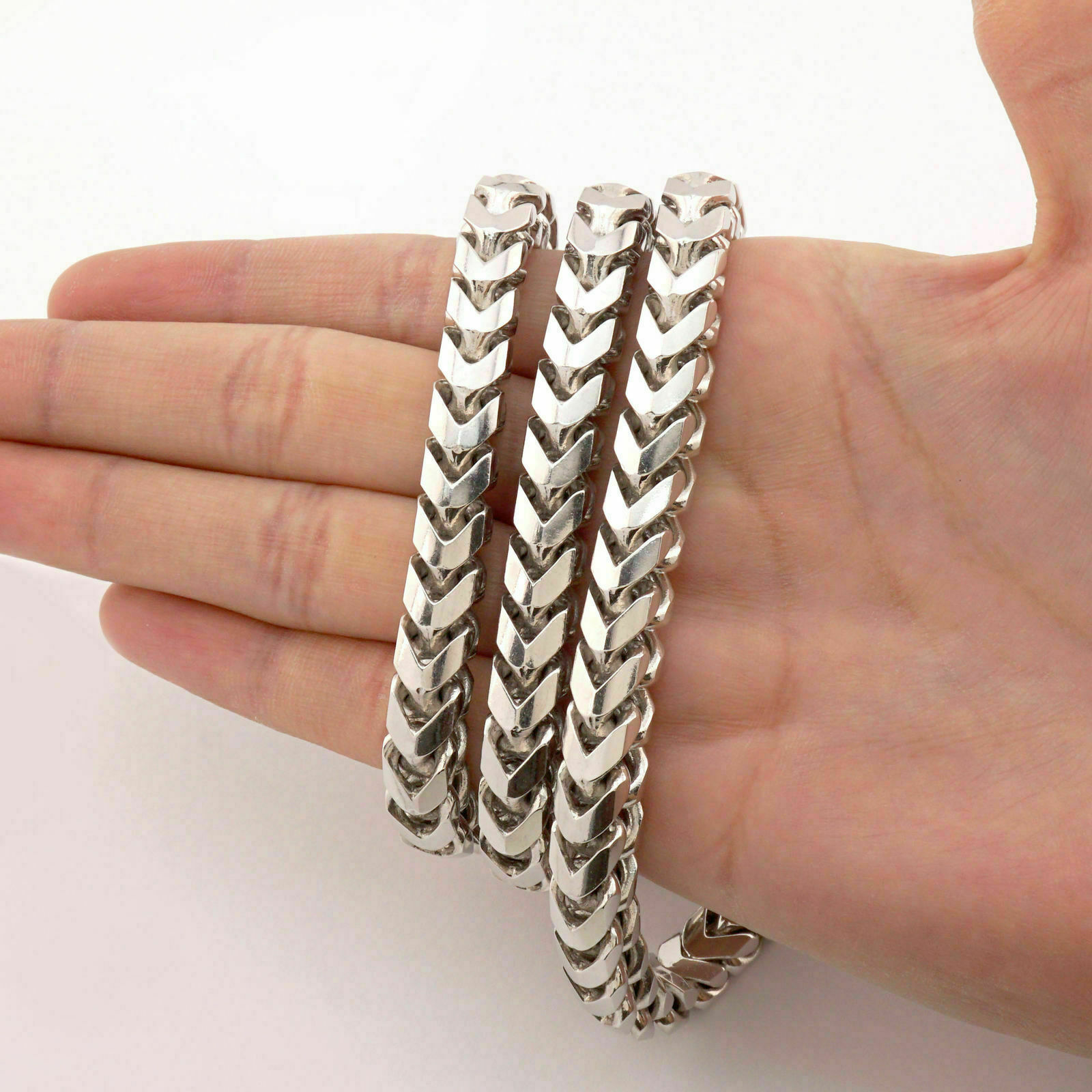 1ee40b26f9ad9 Details about Men's Woman 6mm Franco Foxtail Chain 925 Sterling Silver -  Square - Anti Tarnish