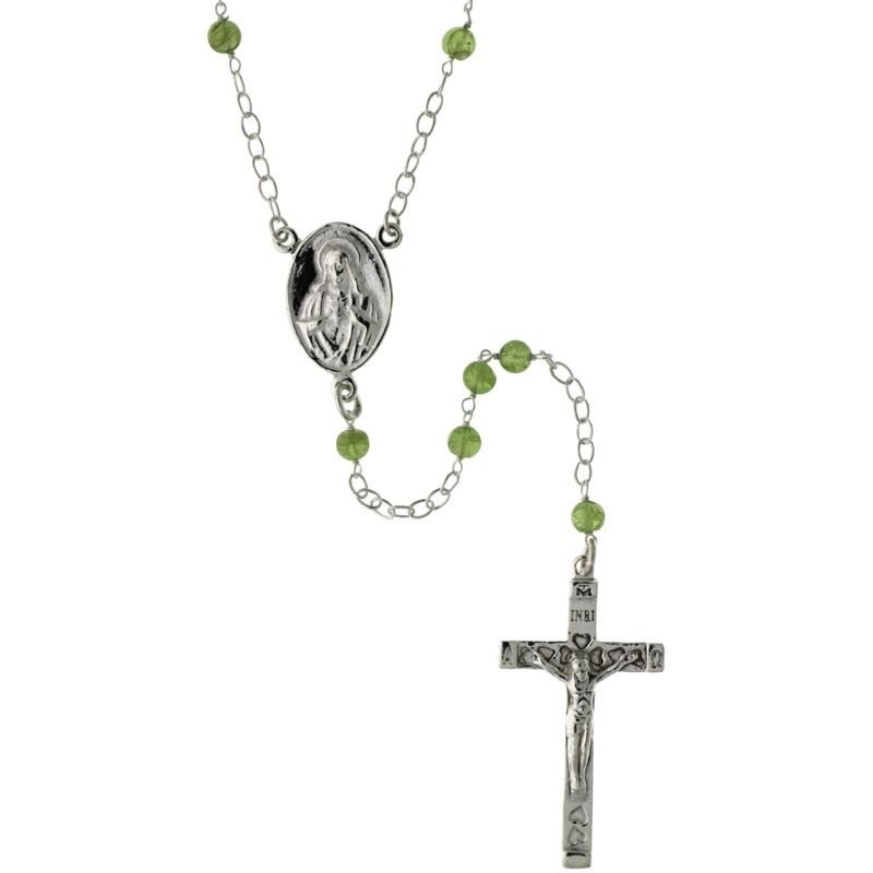 Sterling Silver Natural Peridot Beads Mother Mary Sacred Heart Rosary Necklace
