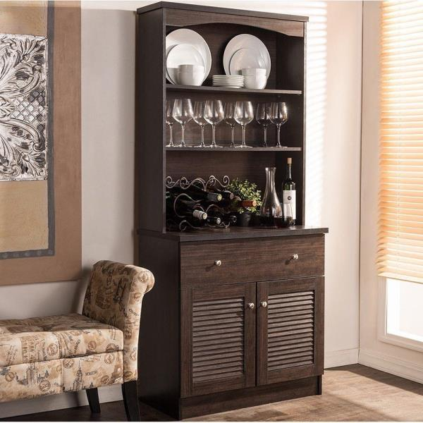 Kitchen Storage Shelf: Espresso Buffet Microwave Kitchen Storage Cabinet Cupboard