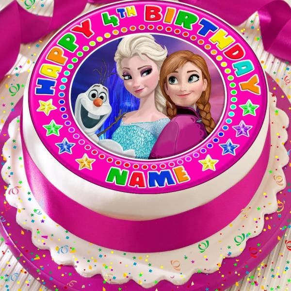 Frozen Personalised Pink Elsa Anna Olaf Precut Edible Birthday Cake
