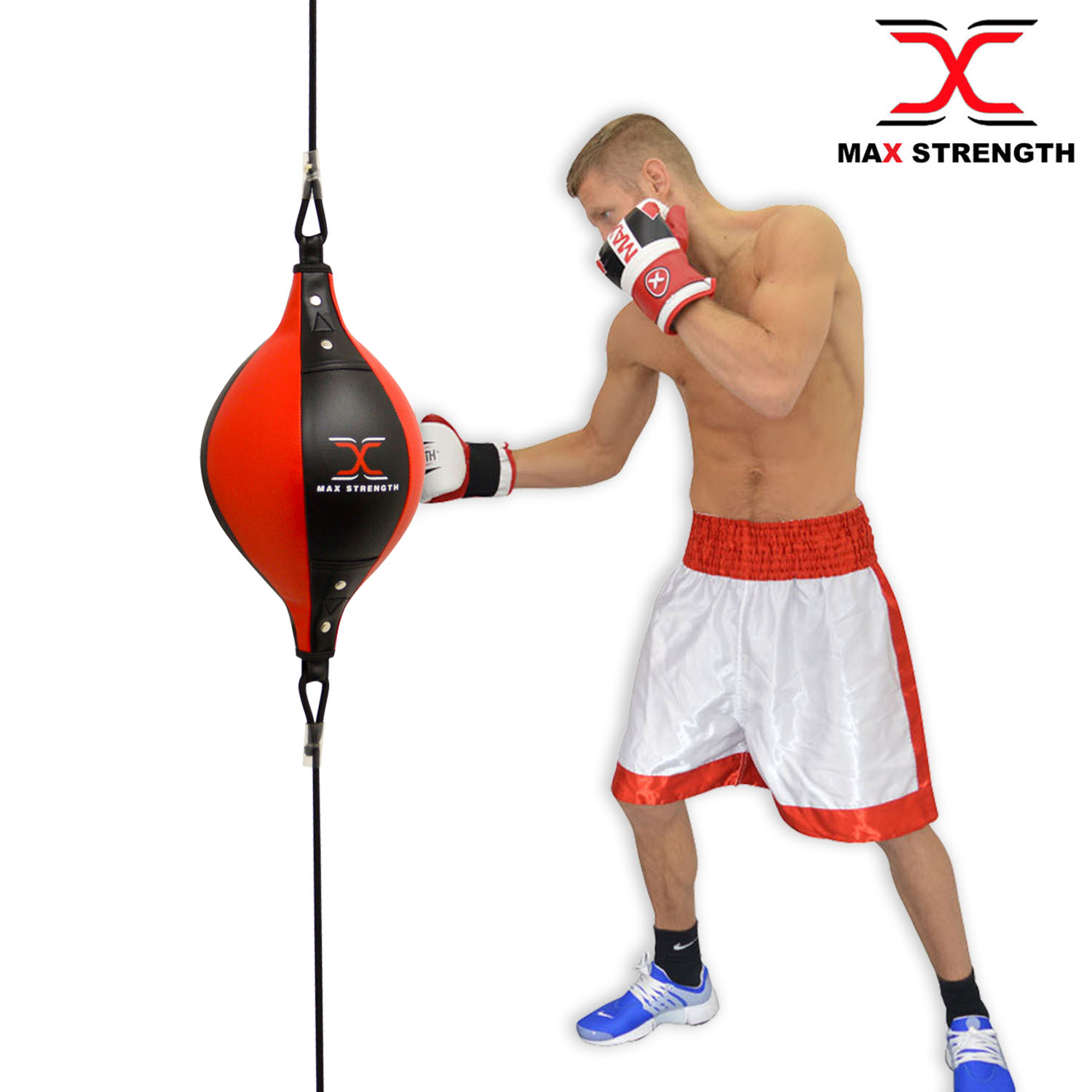1x Leather Double End Boxing Speed Ball Floor to Ceiling Punch Bag MMA Training