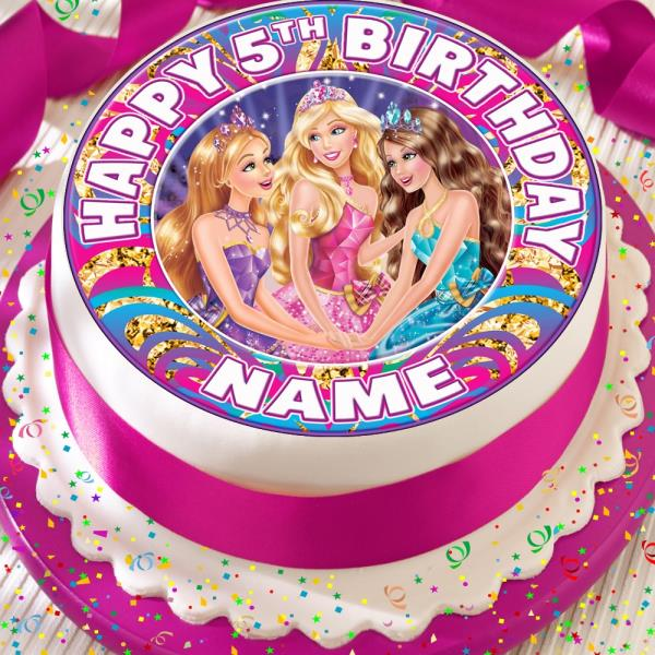 BARBIE AND FRIENDS PINK PERSONALISED PRECUT EDIBLE BIRTHDAY CAKE TOPPER
