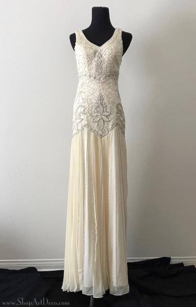 Sue wong 1920s beaded drop waist wedding dress gatsby bridal gown includes a small packet of additional beadssequins for mishaps and is brand new with original tags length approximately 62 from shoulder to hem junglespirit Images