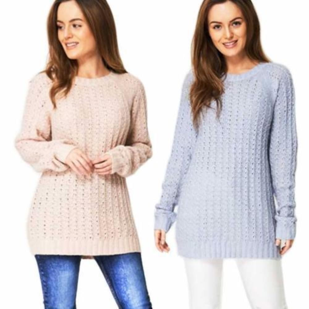 Details about Ladies Warm Knitted Long Jumper Womens Knitwear Soft Textured  Winter Pullover f742d350f