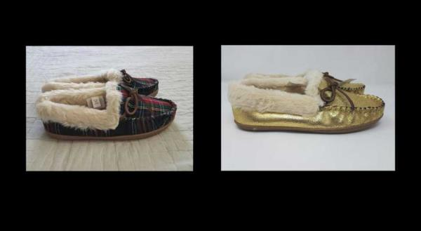a13cd43d453 Details about NEW WOMEN'S J CREW LODGE MOCCASINS IN STEWART BLACK TARTAN /  GOLD SLIPPERS