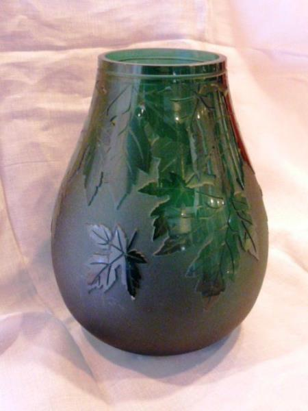 Ken Benson Signed Lifestyles Collections Vase Dark Green With Leaves