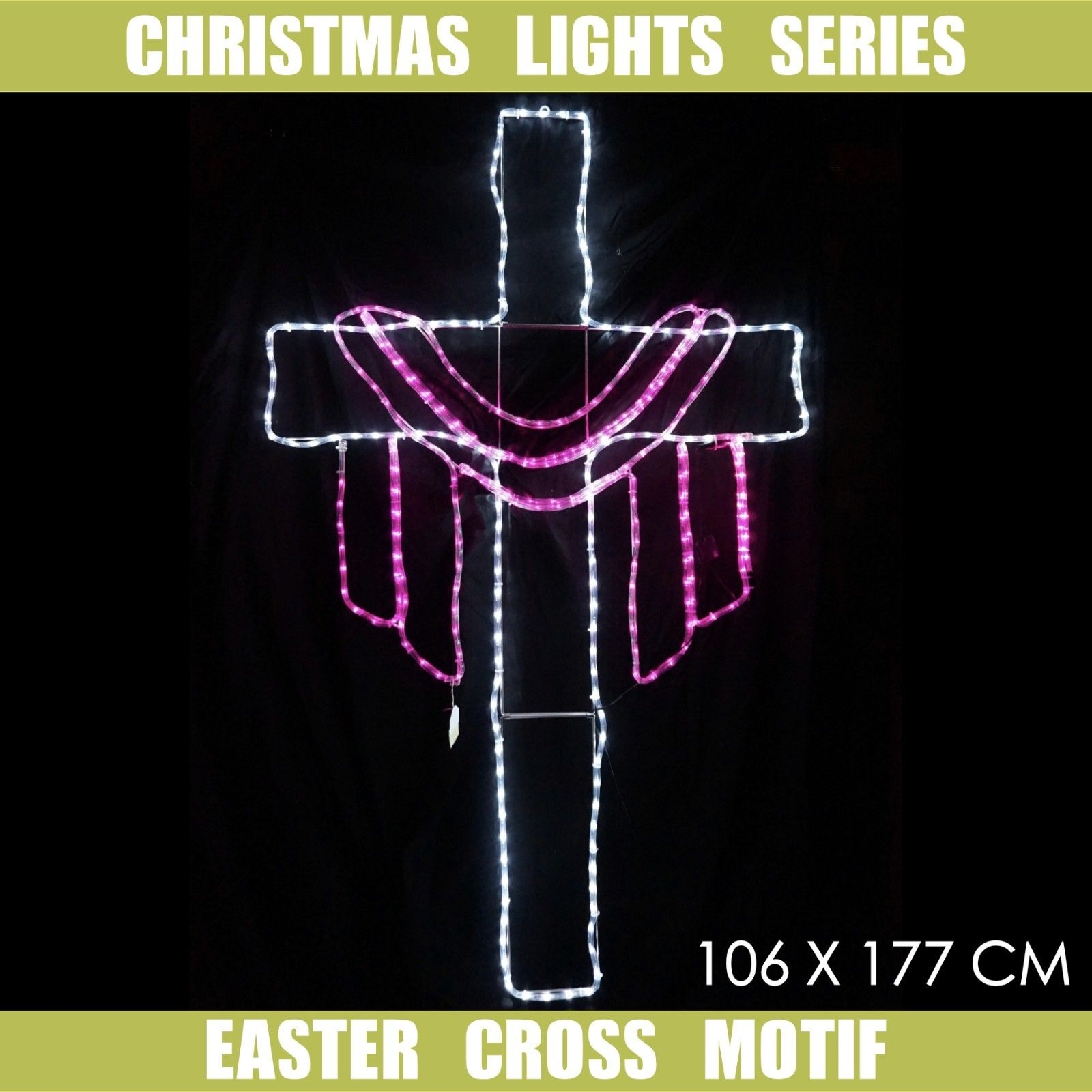 Christmas Light LED Motif Easter Jesus Cross 106x177cm Indoor ...