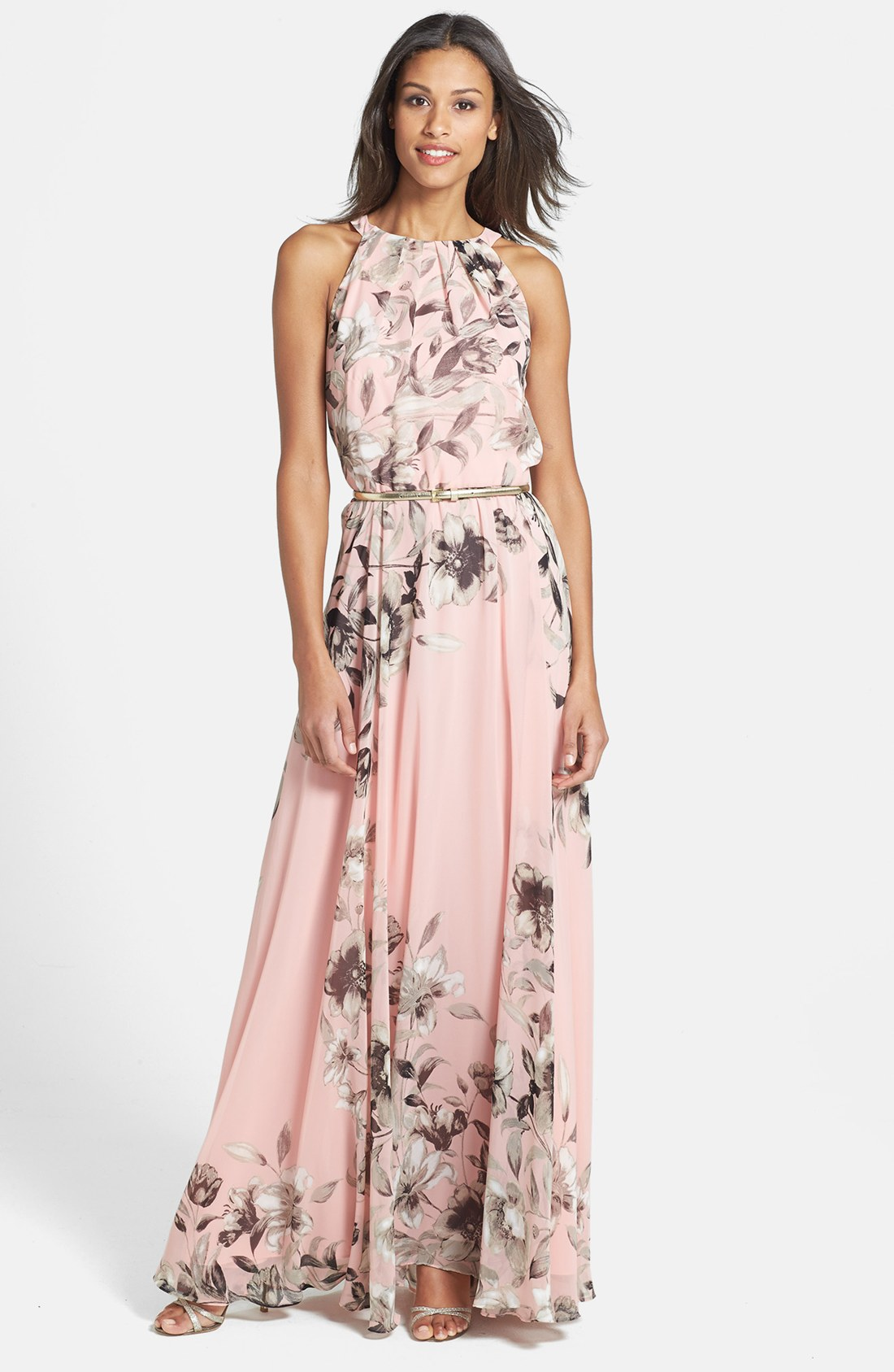 a2090356dcd Details about Eliza J Belted Chiffon Maxi Dress Sz 14 - Belt in not included