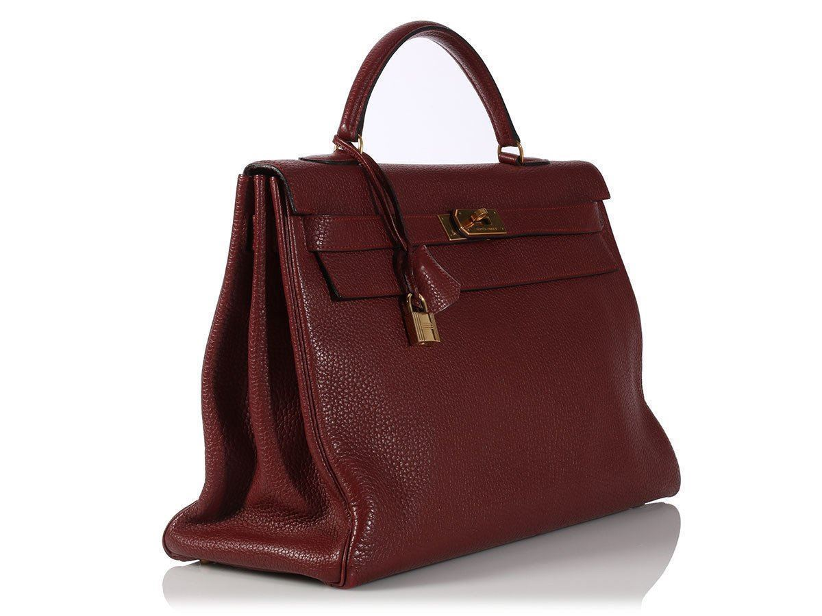 c8881a2d291d4 HERMES Rouge Kelly 40 Bag Purse ~ Big and slouchy in red Fjord leather!