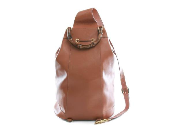 d1e58fe69471 Authentic Gucci Leather Bamboo Handle Brown Backpack Shoulder Bag
