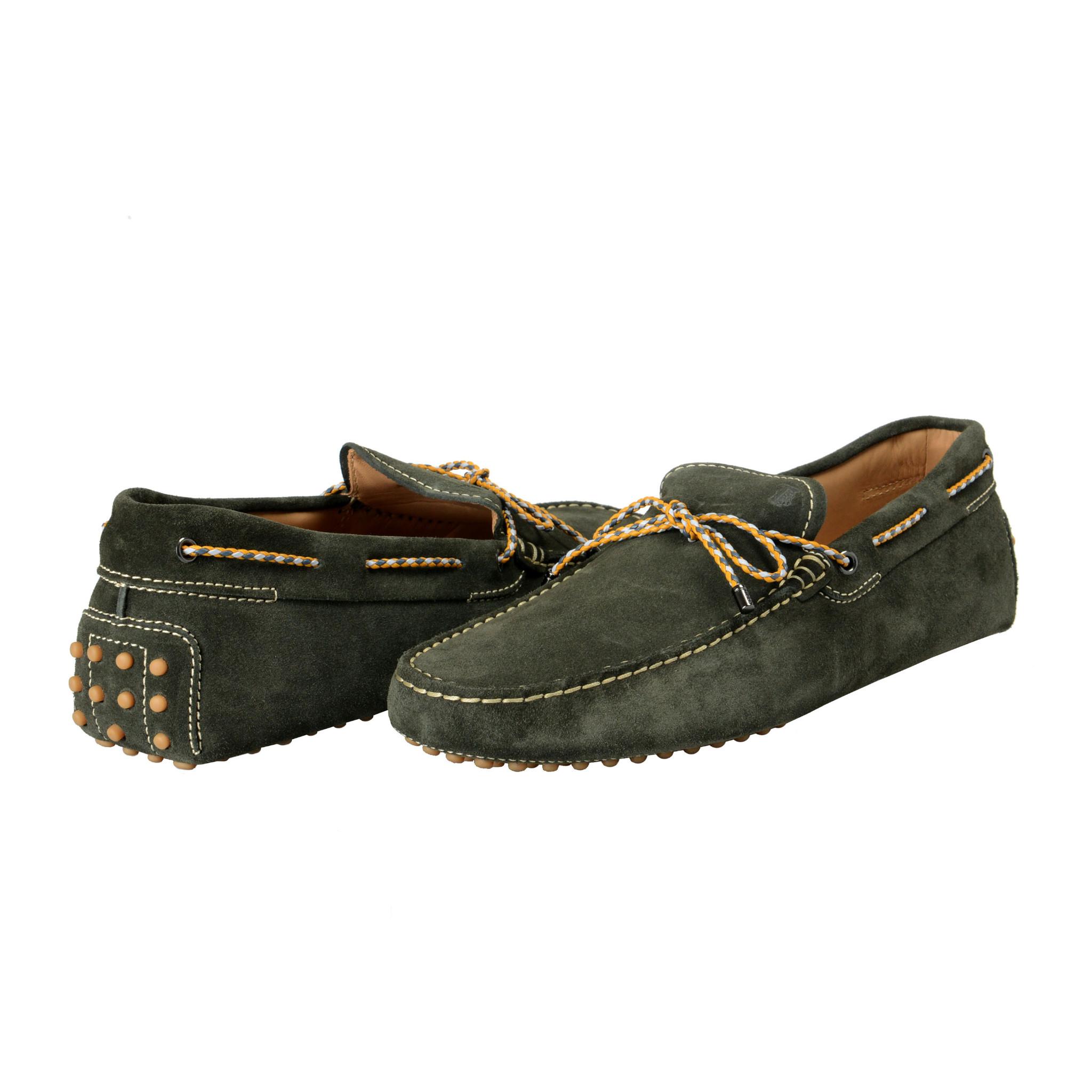 Tod/'s Men/'s Moss Green Suede Leather Loafers Driving Moccasins Shoes