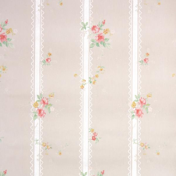 Details About 1930s Floral Stripe Vintage Wallpaper Pink Yellow Roses On Beige