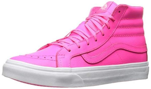 ba6d16feb7 Vans SK8 Hi Slim Leather Neon Pink Skate Girls   Women Shoes ...