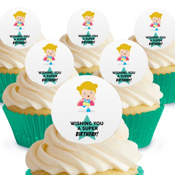 Remarkable 12 X Wishing You A Super Birthday Supergirl Cake Toppers Edible Funny Birthday Cards Online Elaedamsfinfo