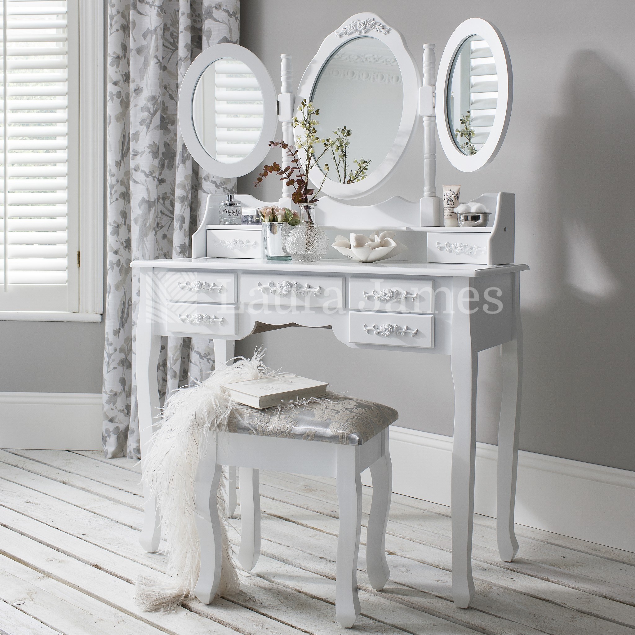 white dressing table mirror stool set 7 drawer dresser. Black Bedroom Furniture Sets. Home Design Ideas
