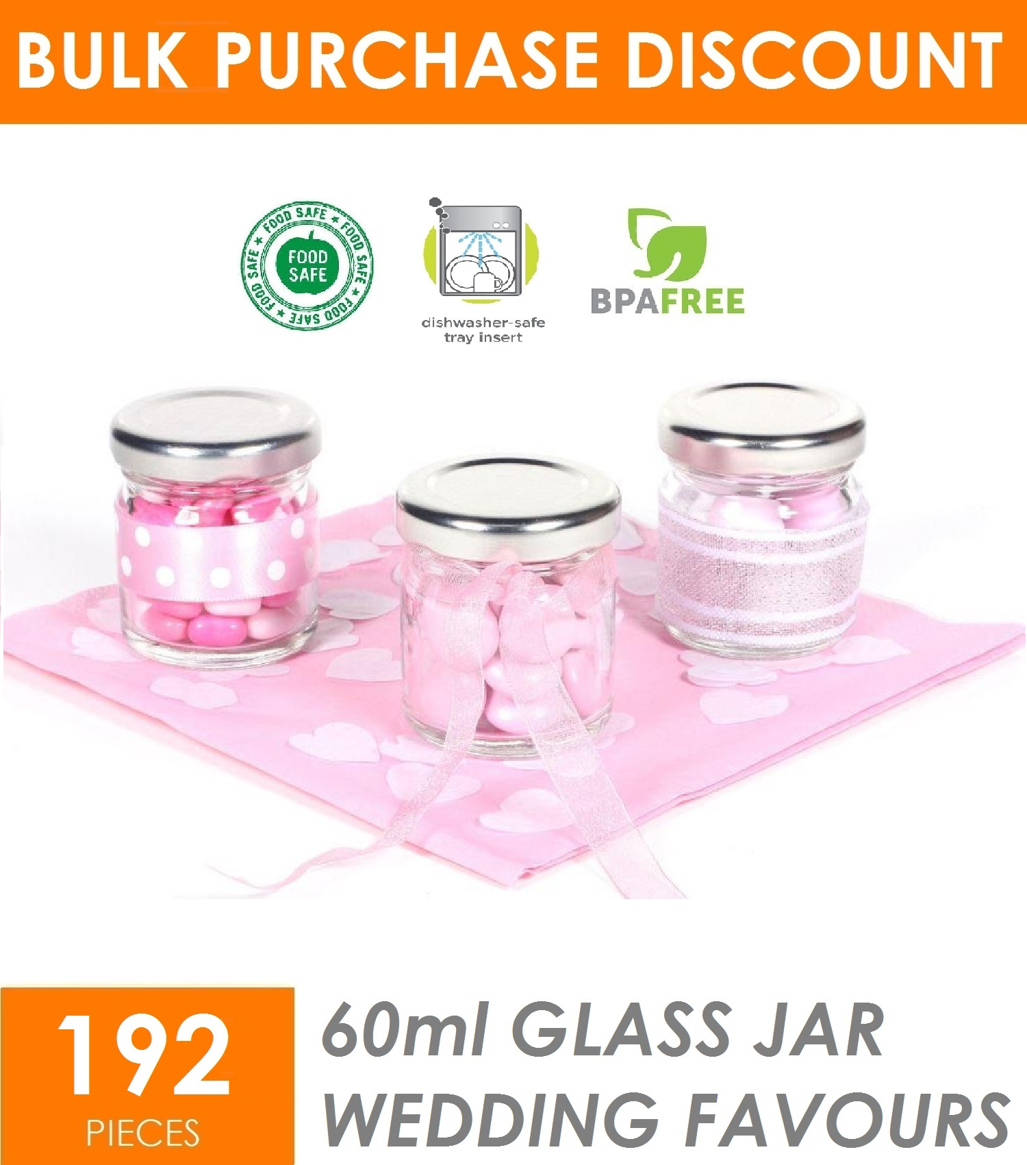 192 x 60ml MINI GLASS Jars Silver Lid Party WEDDING Favours Candy ...