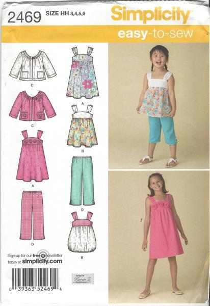 Uncut Simplicity 2469 Sewing Pattern Childs Girls Jacket Dress Top ...