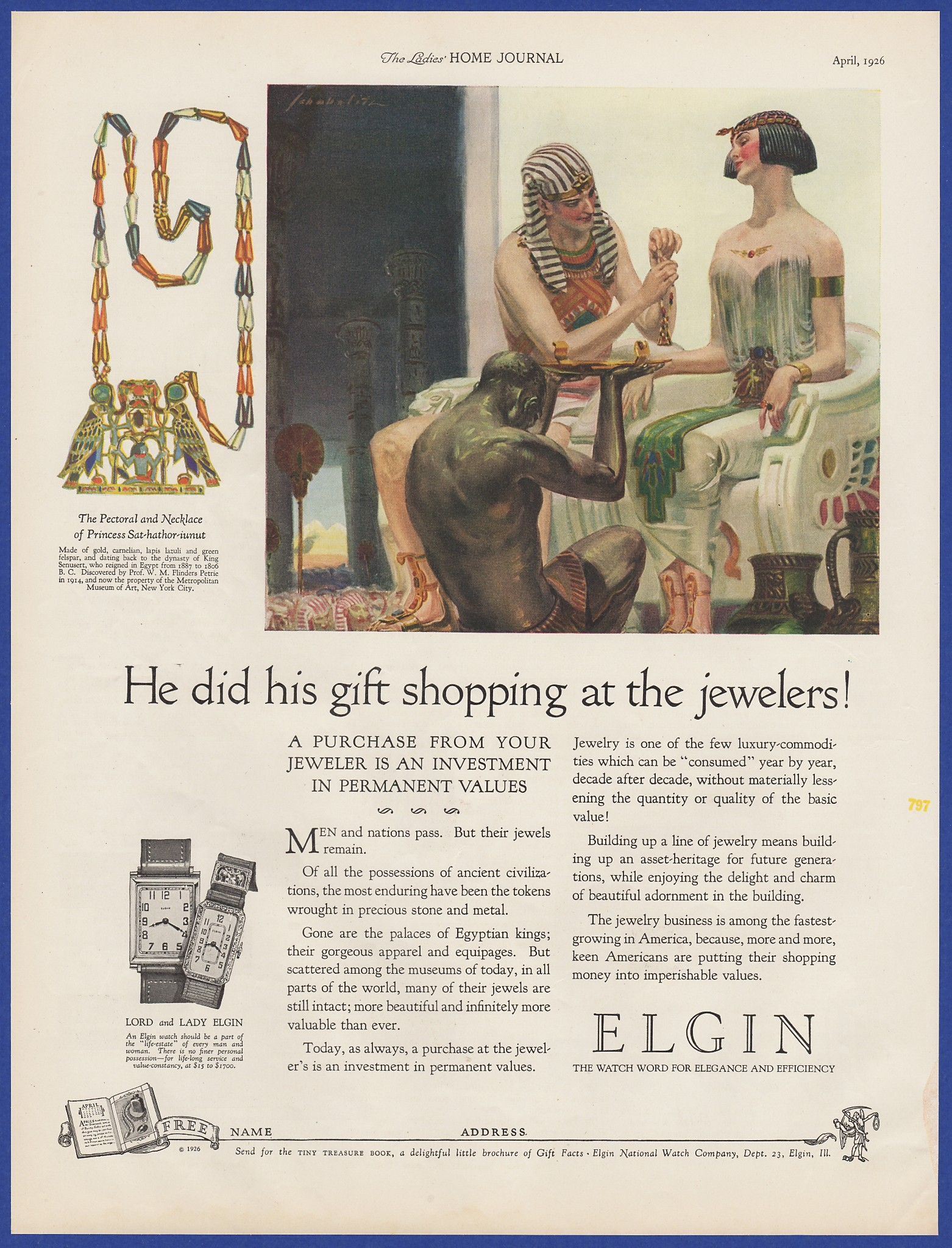 Vintage 1926 elgin watches watch lord lady egyptian art decor print then shipped inside a water and tear resistant polyethylene envelope for guaranteed customer satisfaction fandeluxe Image collections