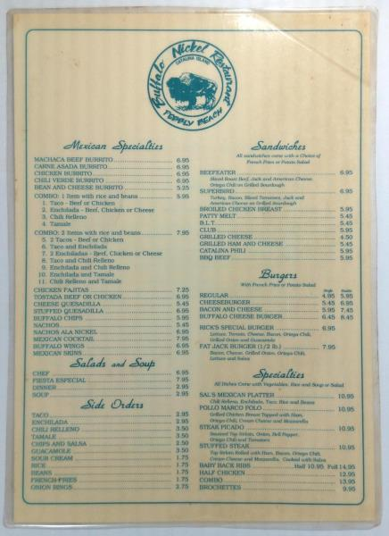 Details About 1990 S Vintage Menu Buffalo Nickel Restaurant Avalon Catalina Island Ca Pebbly