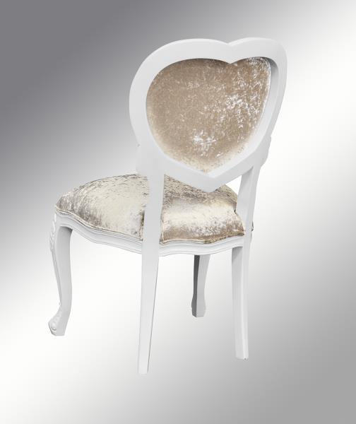 French Louis XV Medee - Heart Chair - White with crushed Champagne ...