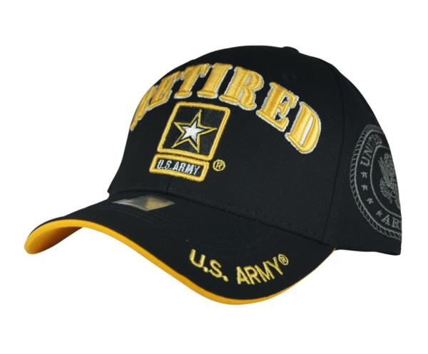 Details about NWT US ARMY RETIRED STAR 3D EMBROIDERY BASEBALL CAP HAT Adj  Back COLOR BLACK 826dd6fc7f10