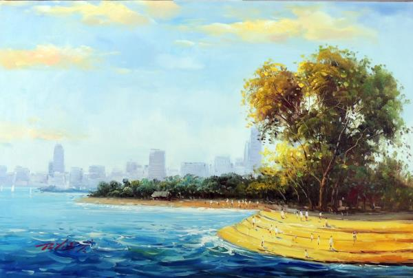 chicago beach sandy lakeshore downtown skyline stretched 24x36 oil