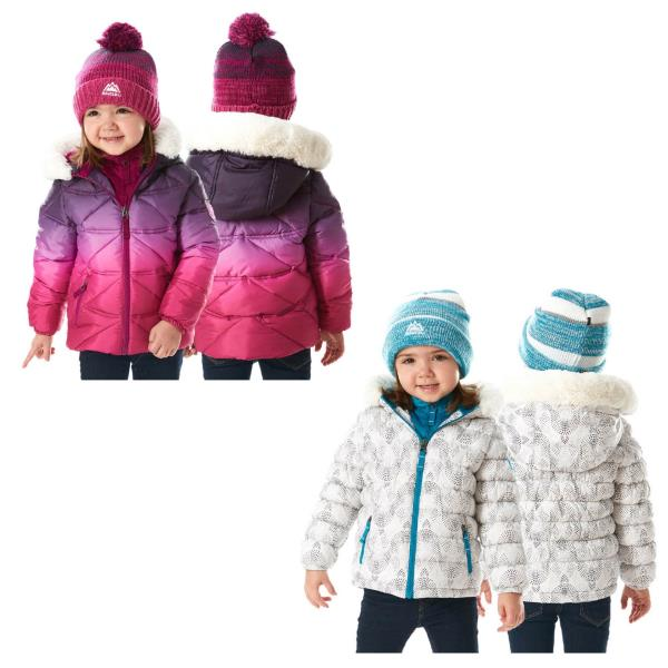 d42fd7722 Snozu Fleece Lined Hooded Puffy Jacket with Matching Pom Beanie for ...