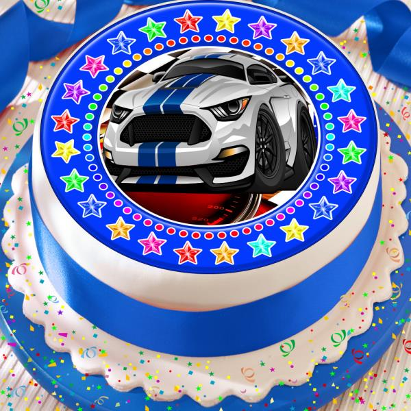 Muscle Car Happy Birthday 7 5 Inch Precut Edible Cake Topper